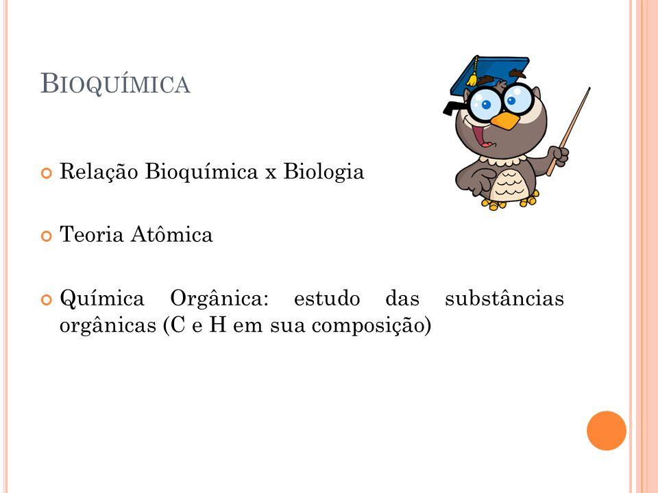 Bioquímica Relação Bioquímica x Biologia Teoria Atômica