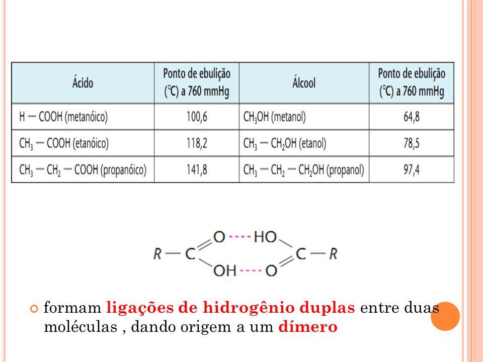 formam ligações de hidrogênio duplas entre duas moléculas , dando origem a um dímero