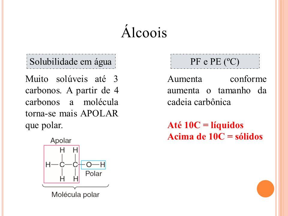 Álcoois Química Solubilidade em água PF e PE (ºC)