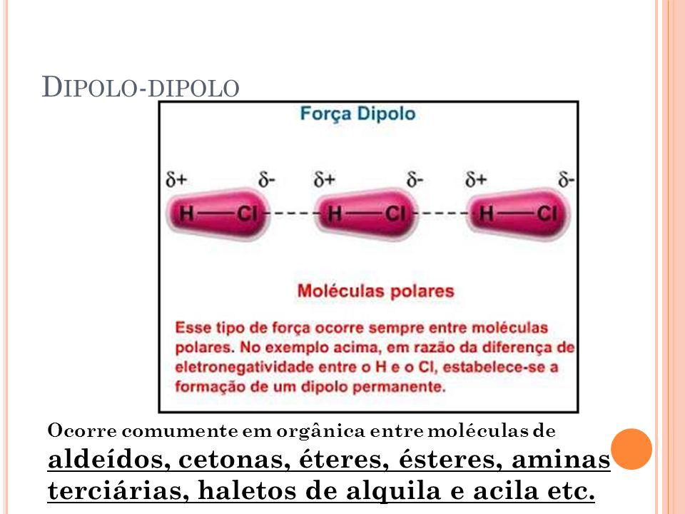 Dipolo-dipolo Ocorre comumente em orgânica entre moléculas de aldeídos, cetonas, éteres, ésteres, aminas terciárias, haletos de alquila e acila etc.
