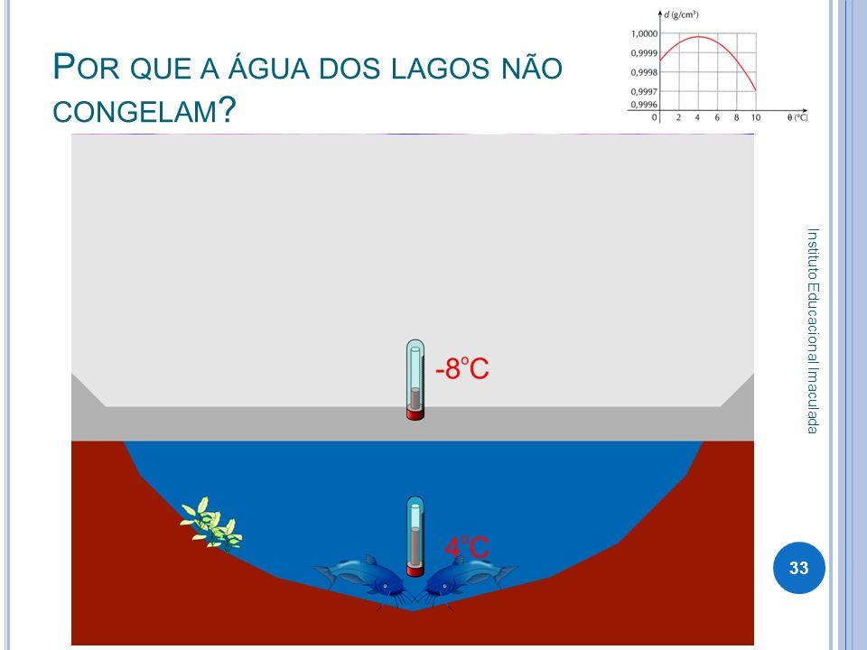 Por que a água dos lagos não congelam