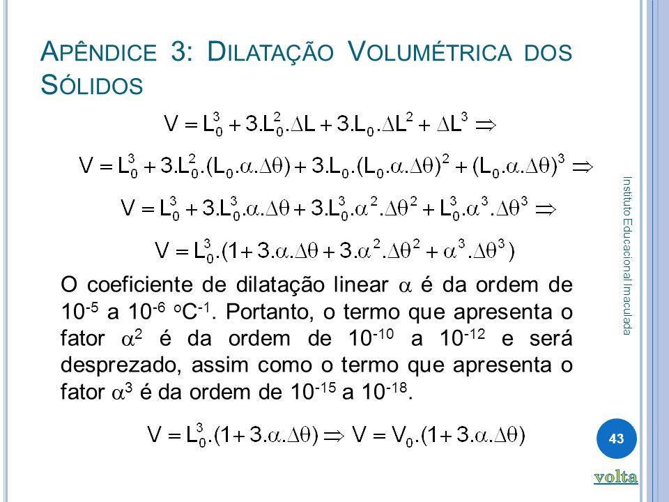 Apêndice 3: Dilatação Volumétrica dos Sólidos