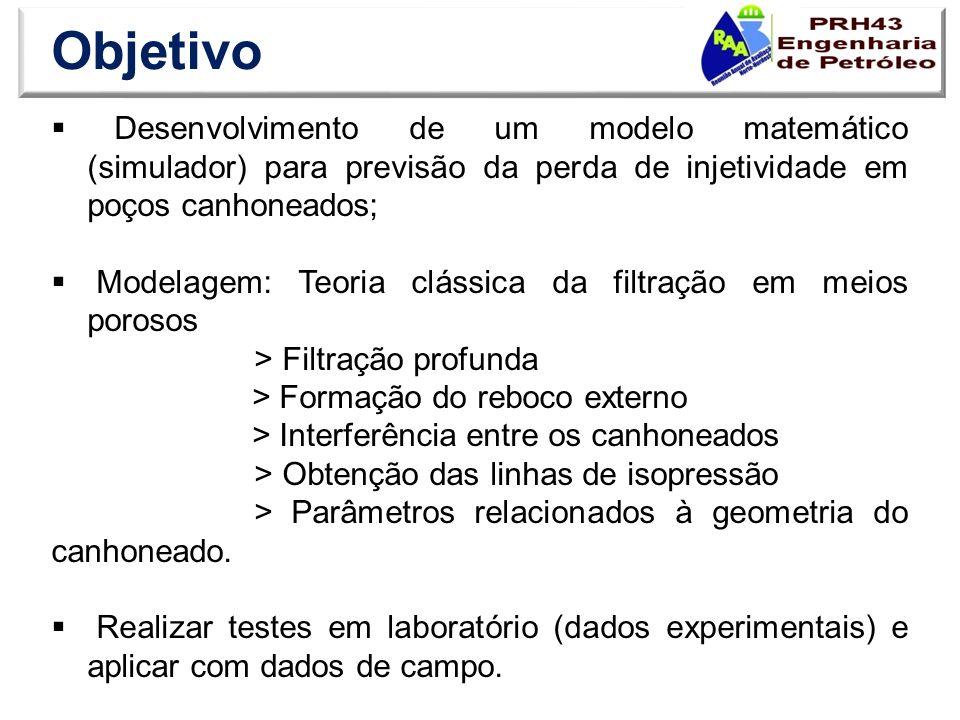 Objetivo Desenvolvimento de um modelo matemático (simulador) para previsão da perda de injetividade em poços canhoneados;