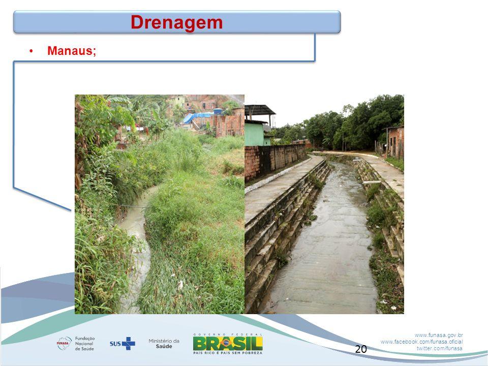 Drenagem Manaus; Disponibilização de recursos para Elaboração de Projetos. Seleção de empreendimentos a partir da existência dos projetos.