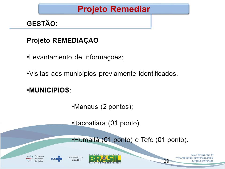 Projeto Remediar GESTÃO: Projeto REMEDIAÇÃO