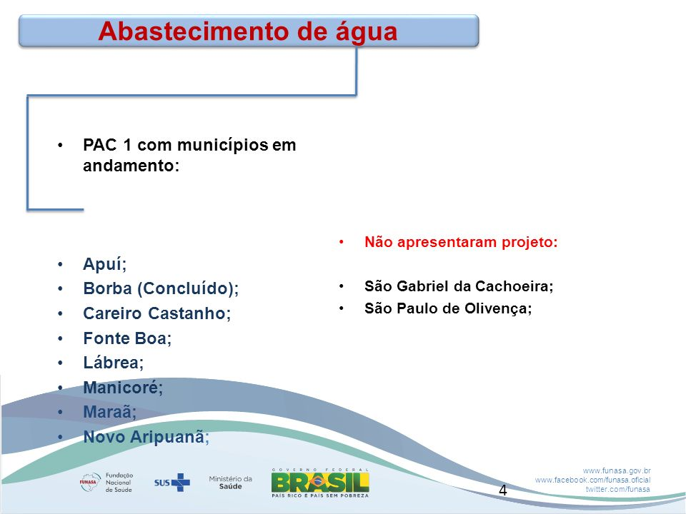Abastecimento de água PAC 1 com municípios em andamento: Apuí;