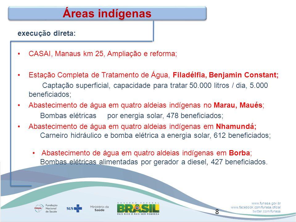 Áreas indígenas execução direta: