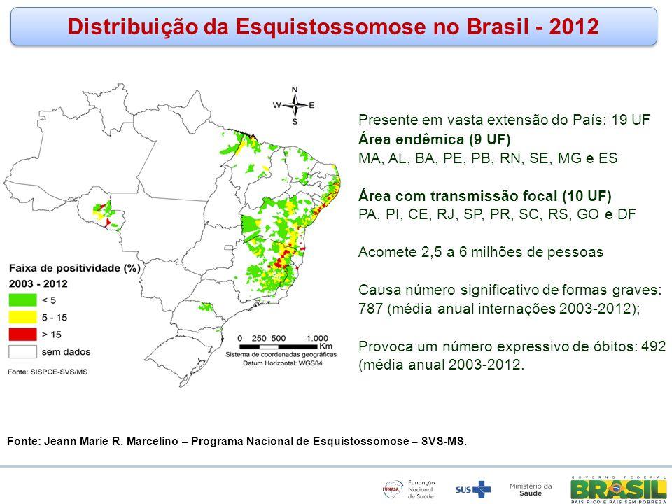 Distribuição da Esquistossomose no Brasil - 2012