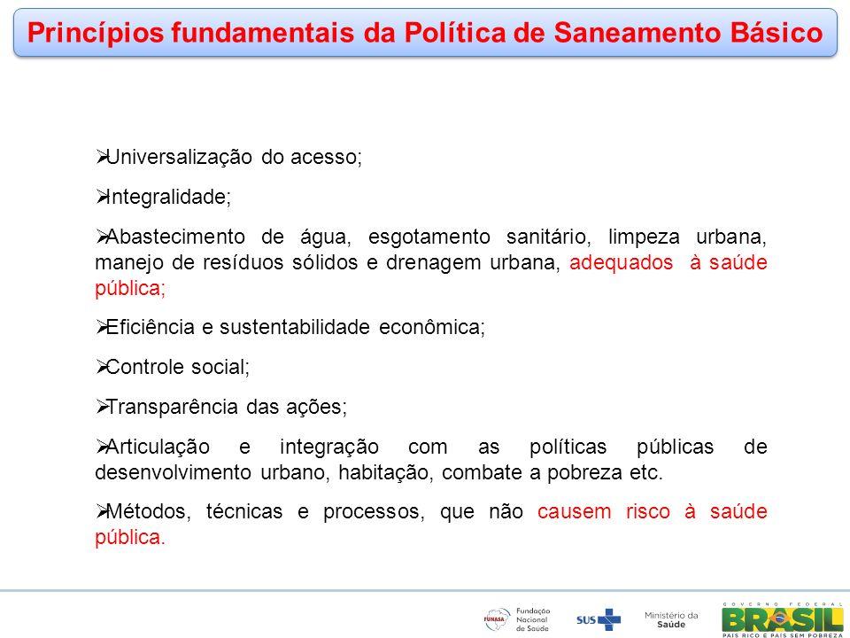 Princípios fundamentais da Política de Saneamento Básico