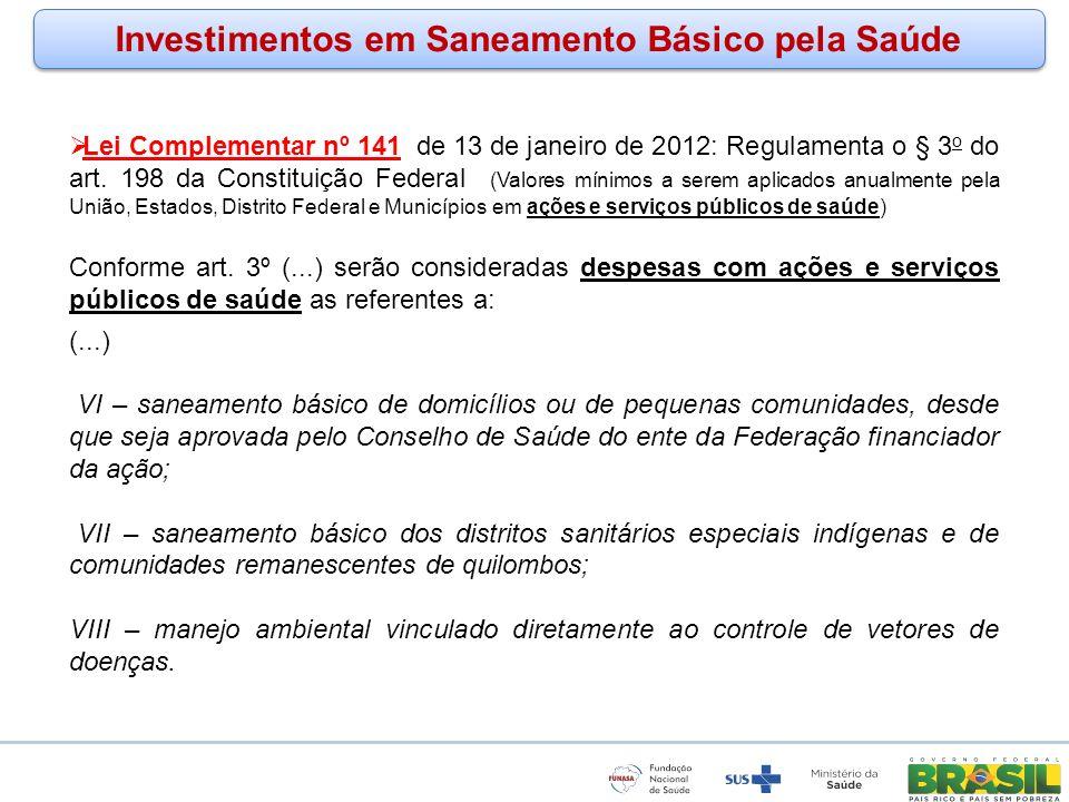 Investimentos em Saneamento Básico pela Saúde