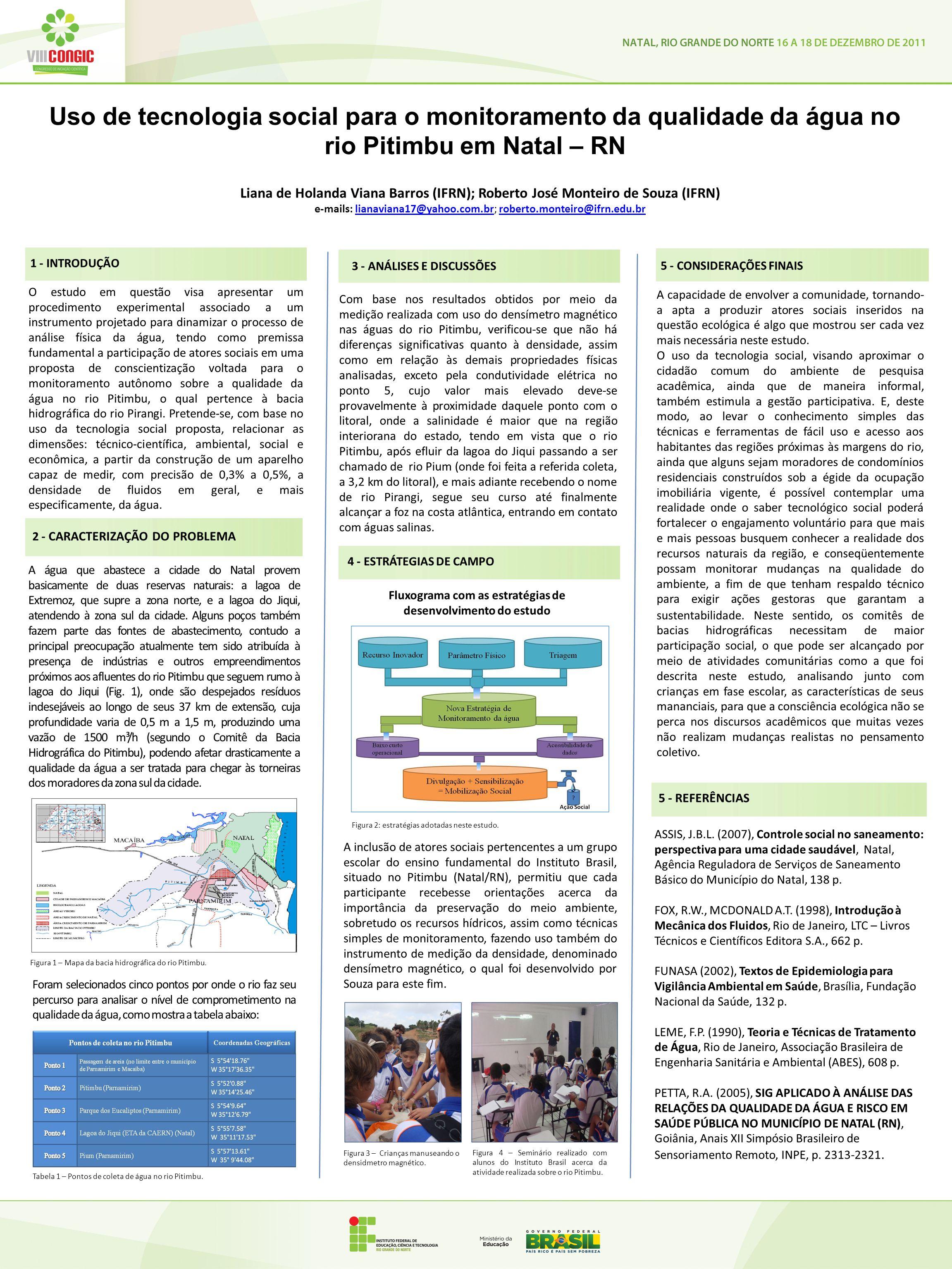 Uso de tecnologia social para o monitoramento da qualidade da água no rio Pitimbu em Natal – RN