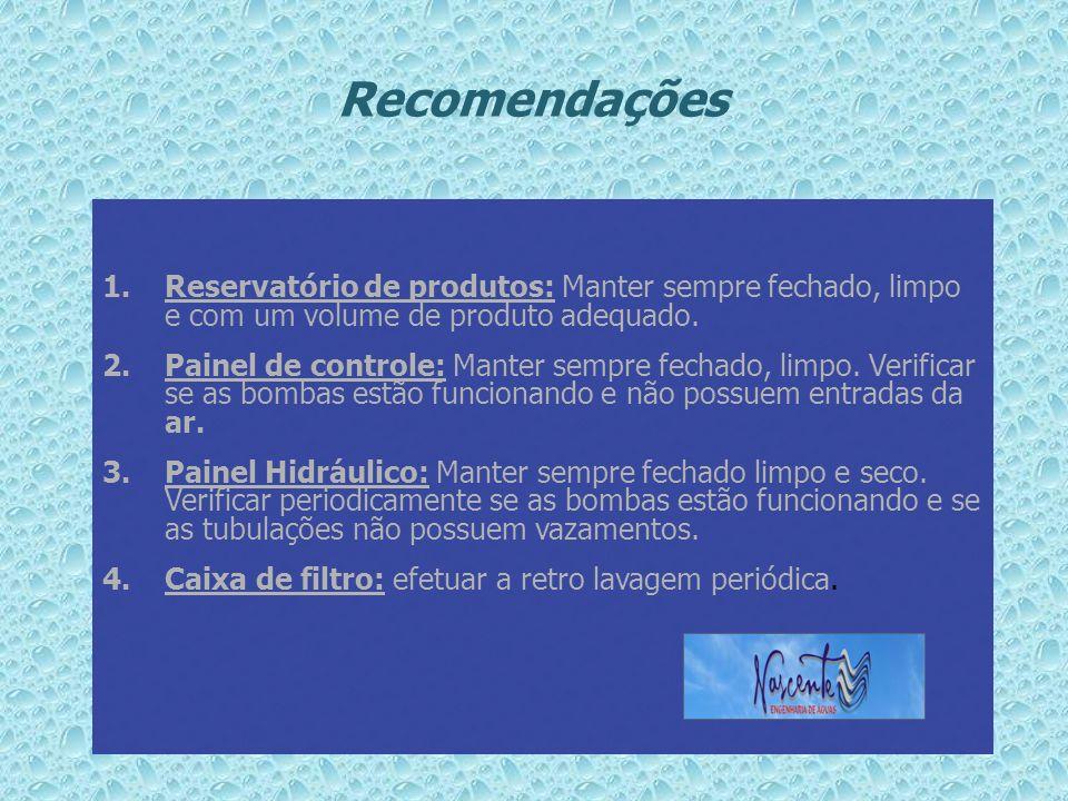 Recomendações Reservatório de produtos: Manter sempre fechado, limpo e com um volume de produto adequado.