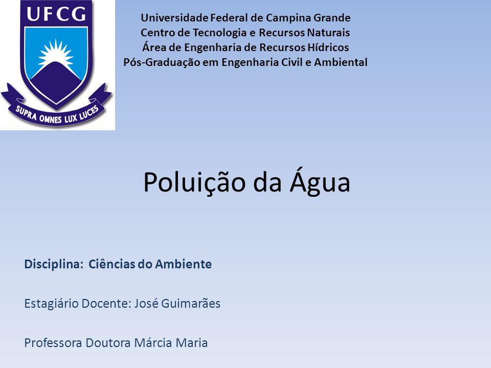 Poluição da Água Disciplina: Ciências do Ambiente