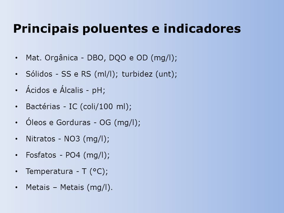 Principais poluentes e indicadores