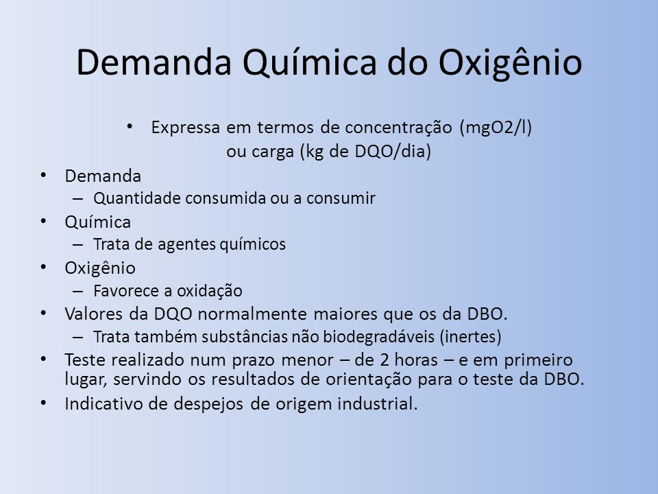 Demanda Química do Oxigênio