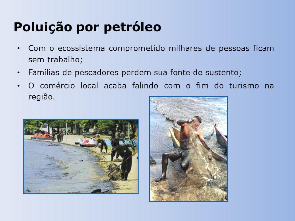 Poluição por petróleo Com o ecossistema comprometido milhares de pessoas ficam sem trabalho; Famílias de pescadores perdem sua fonte de sustento;