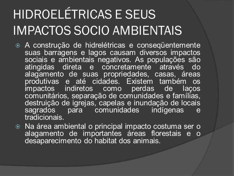 HIDROELÉTRICAS E SEUS IMPACTOS SOCIO AMBIENTAIS