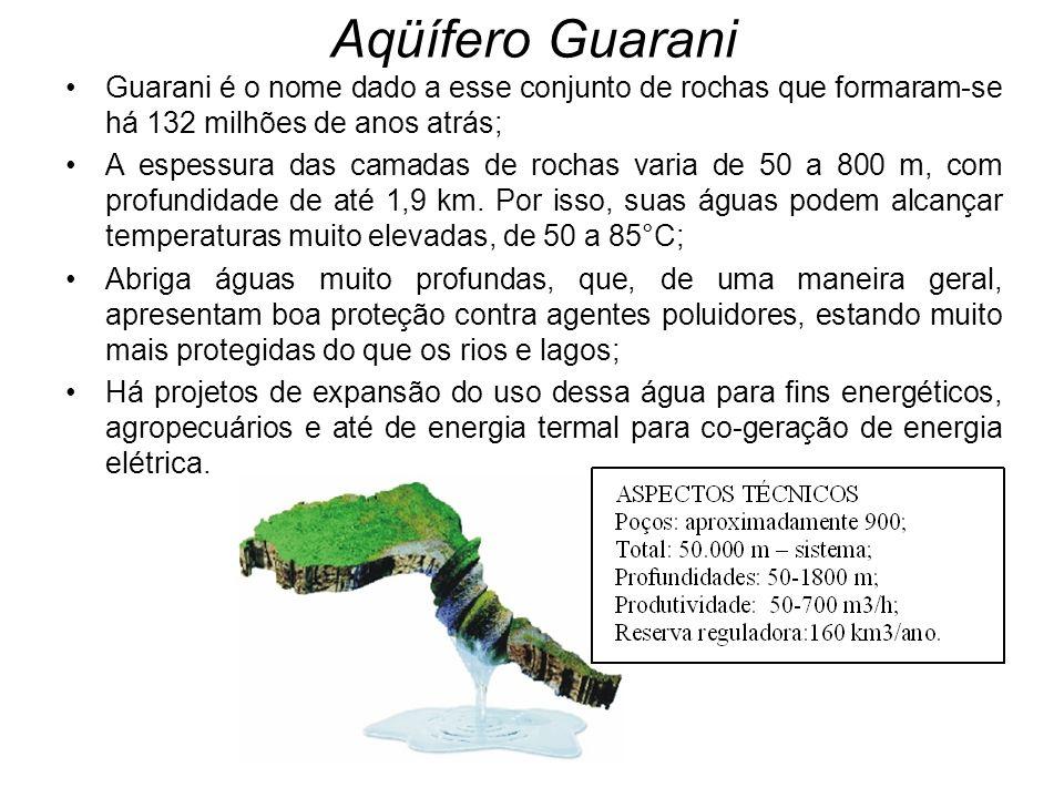 Aqüífero Guarani Guarani é o nome dado a esse conjunto de rochas que formaram-se há 132 milhões de anos atrás;
