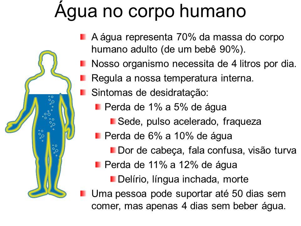Água no corpo humano A água representa 70% da massa do corpo humano adulto (de um bebê 90%). Nosso organismo necessita de 4 litros por dia.