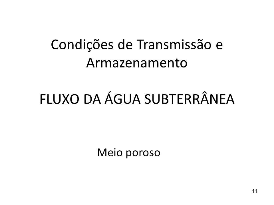 Condições de Transmissão e Armazenamento FLUXO DA ÁGUA SUBTERRÂNEA