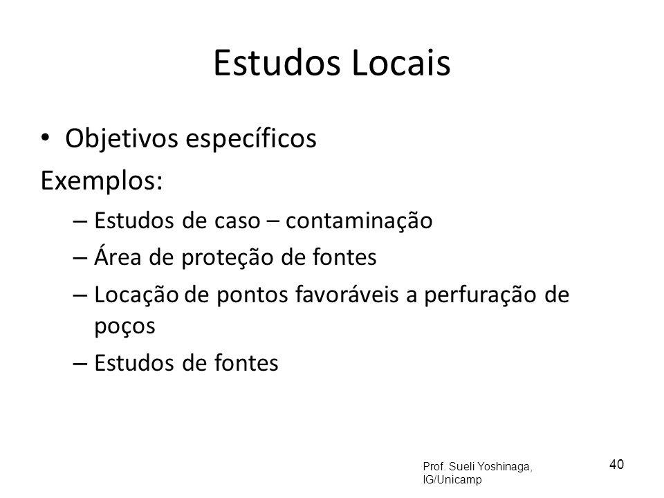 Estudos Locais Objetivos específicos Exemplos: