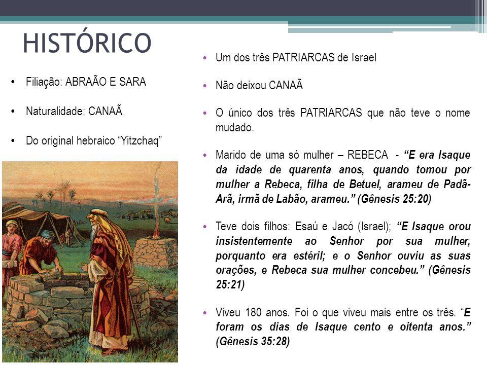 HISTÓRICO Um dos três PATRIARCAS de Israel Não deixou CANAÃ