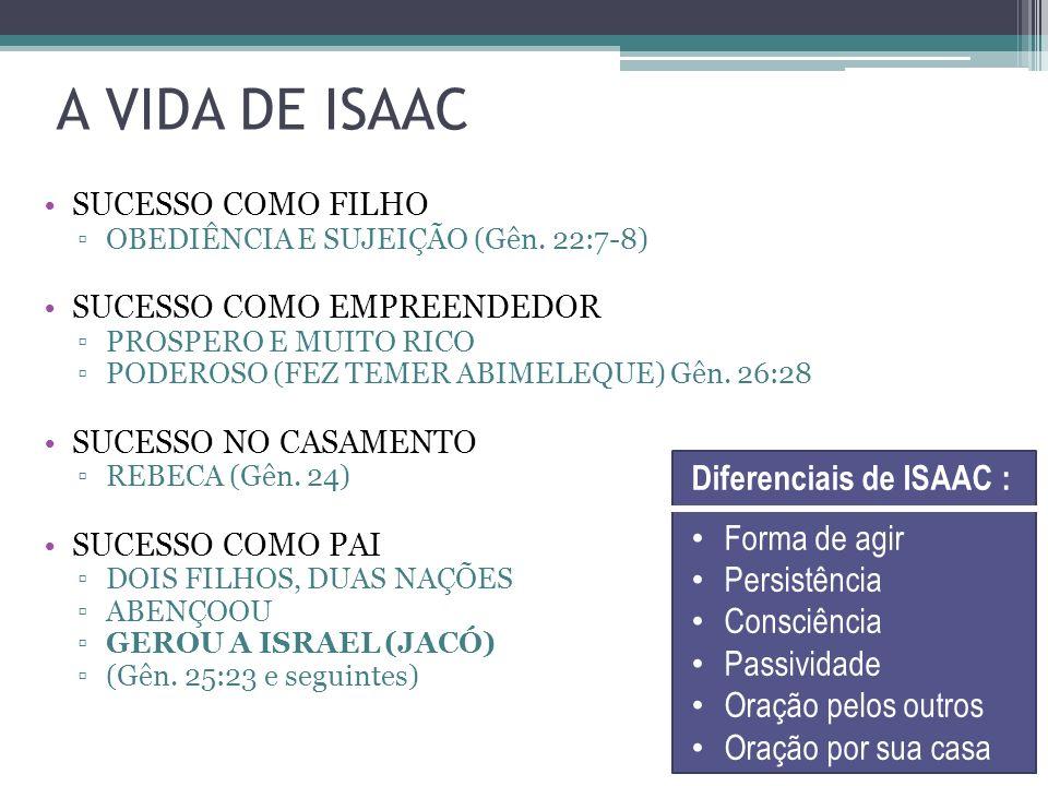A VIDA DE ISAAC Diferenciais de ISAAC : Forma de agir Persistência