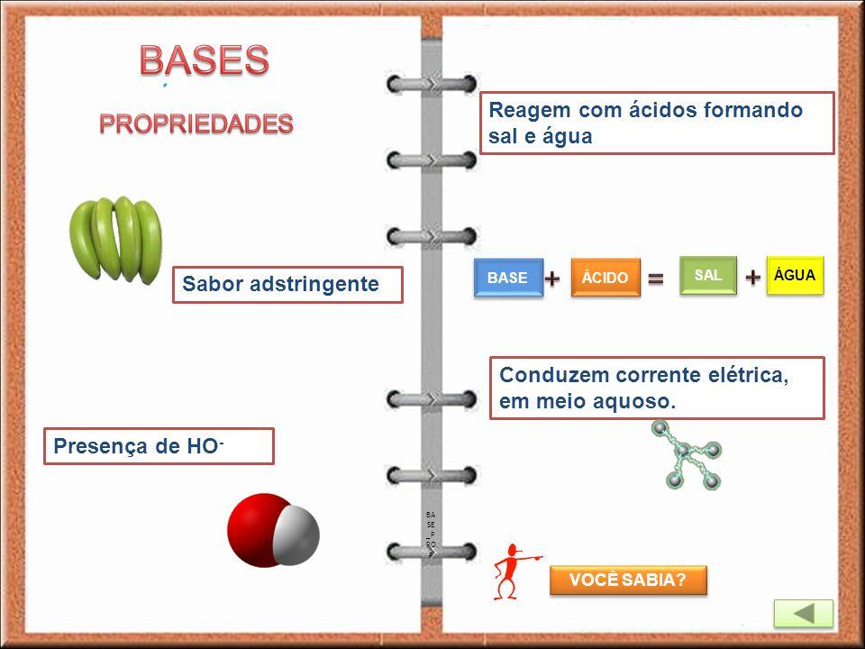BASES + = + PROPRIEDADES Reagem com ácidos formando sal e água