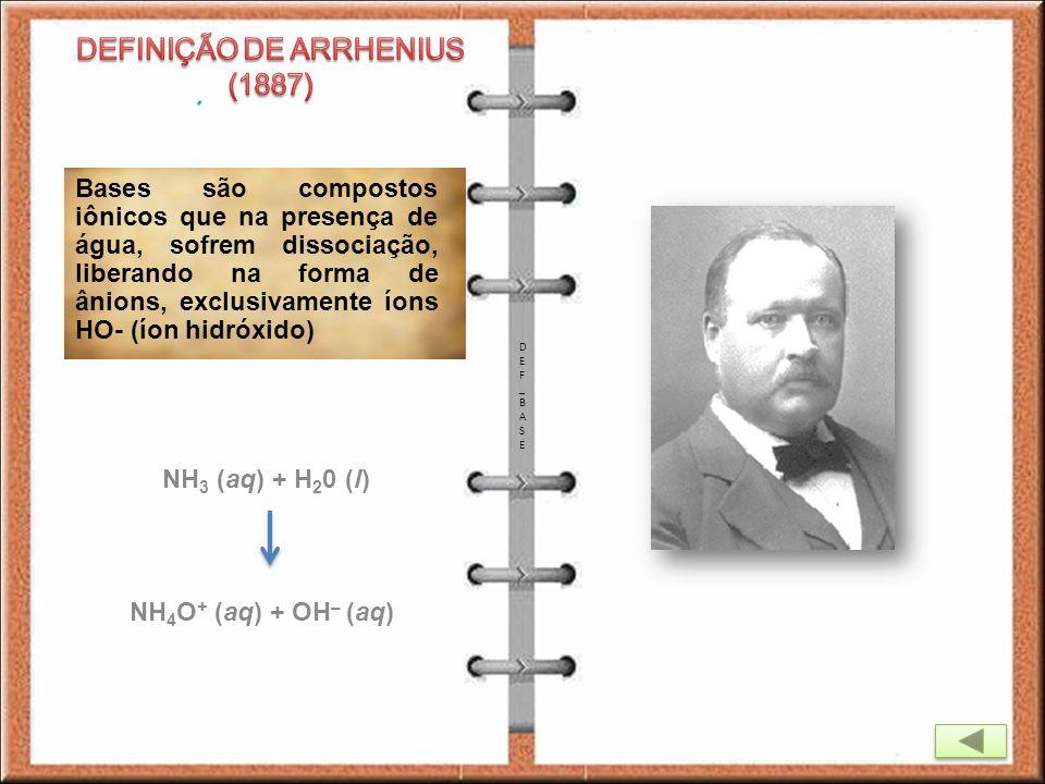 DEFINIÇÃO DE ARRHENIUS (1887)