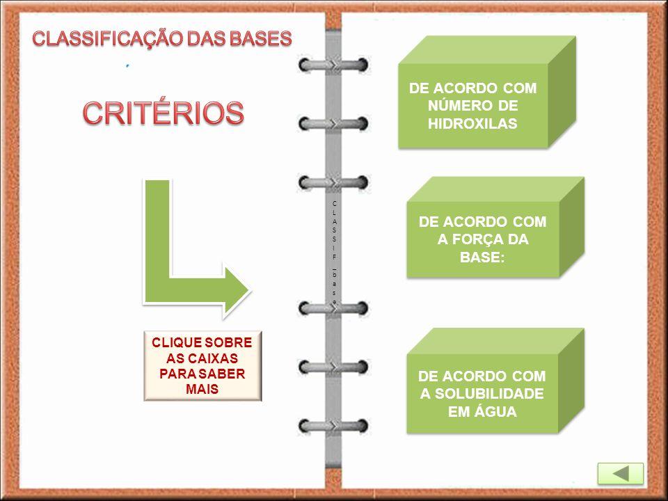 CRITÉRIOS CLASSIFICAÇÃO DAS BASES DE ACORDO COM NÚMERO DE HIDROXILAS