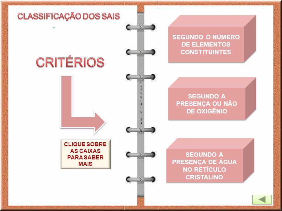 CRITÉRIOS CLASSIFICAÇÃO DOS SAIS