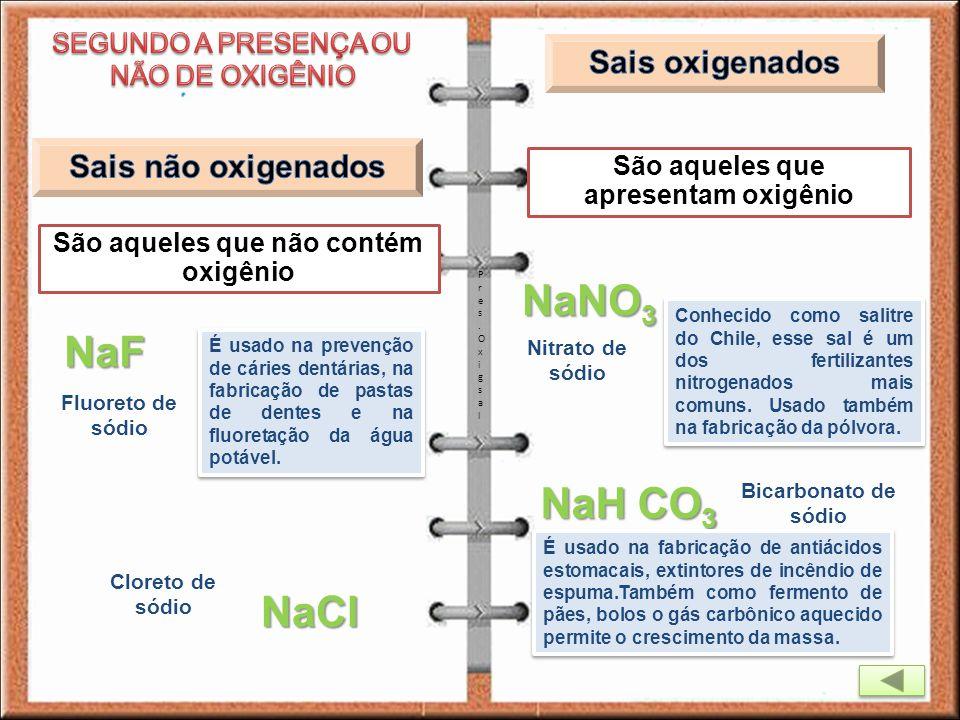 NaNO3 NaF NaH CO3 NaCl Sais oxigenados Sais não oxigenados