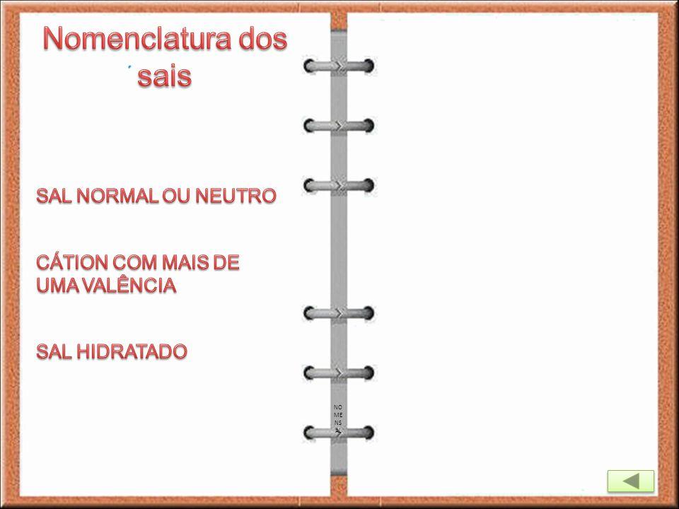 Nomenclatura dos sais SAL NORMAL OU NEUTRO