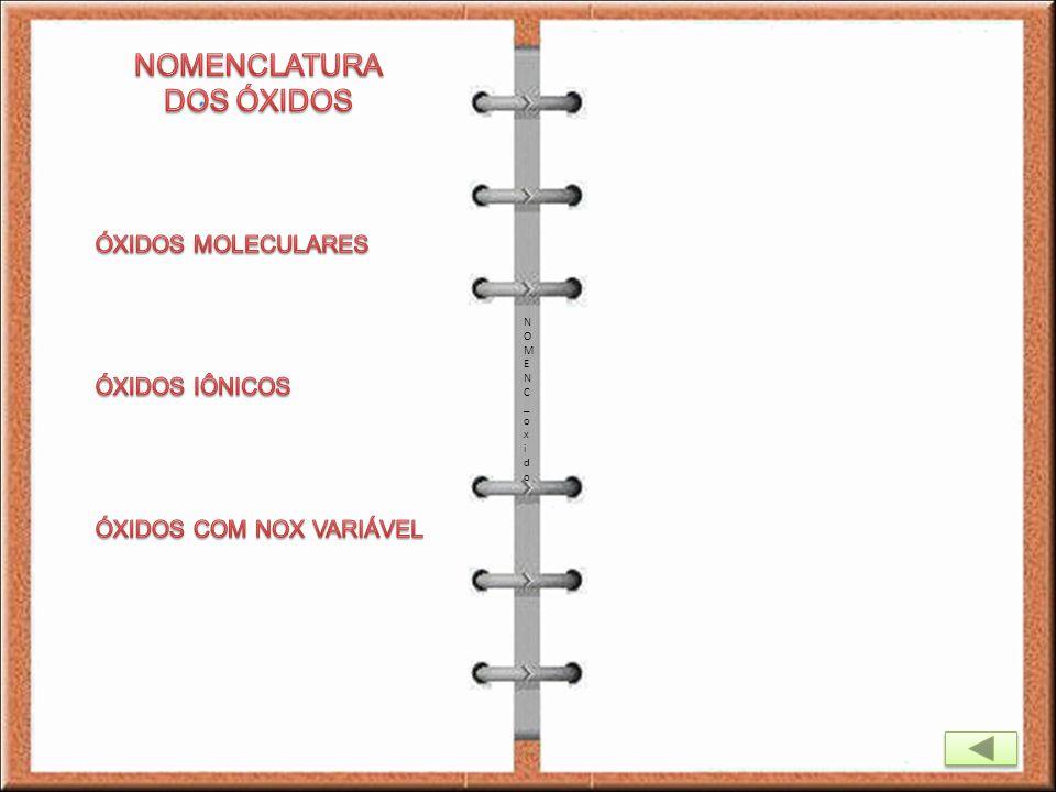 NOMENCLATURA DOS ÓXIDOS ÓXIDOS MOLECULARES ÓXIDOS IÔNICOS