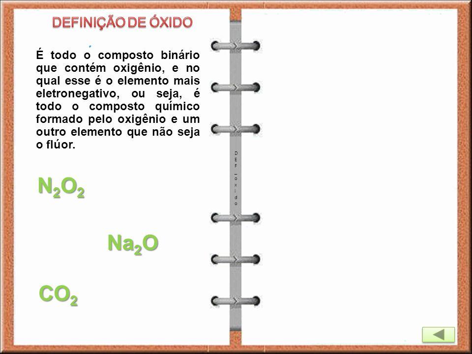 N2O2 Na2O CO2 DEFINIÇÃO DE ÓXIDO