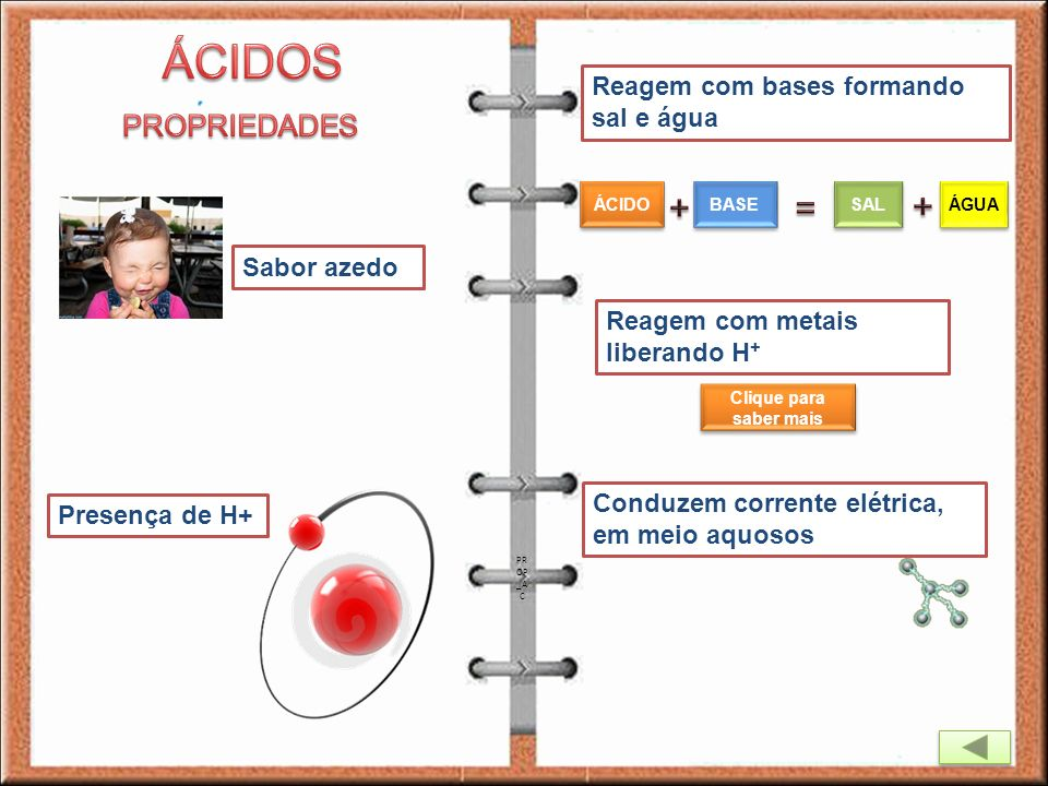 ÁCIDOS + = + PROPRIEDADES Reagem com bases formando sal e água
