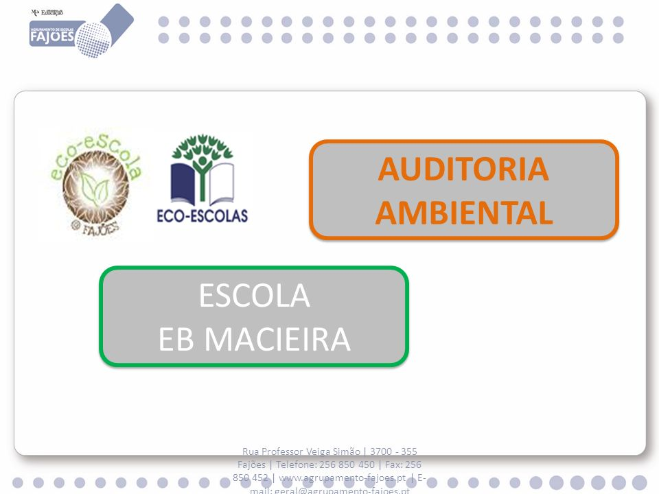 AUDITORIA AMBIENTAL ESCOLA EB MACIEIRA