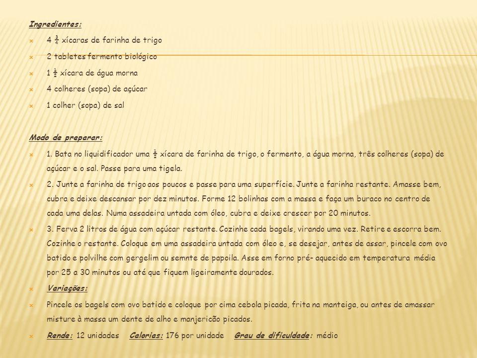 Ingredientes: 4 ¾ xícaras de farinha de trigo. 2 tabletes fermento biológico. 1 ½ xícara de água morna.