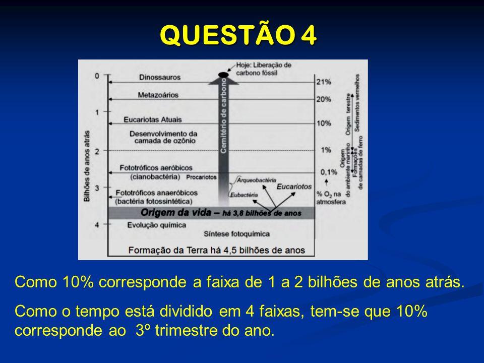 QUESTÃO 4 Como 10% corresponde a faixa de 1 a 2 bilhões de anos atrás.