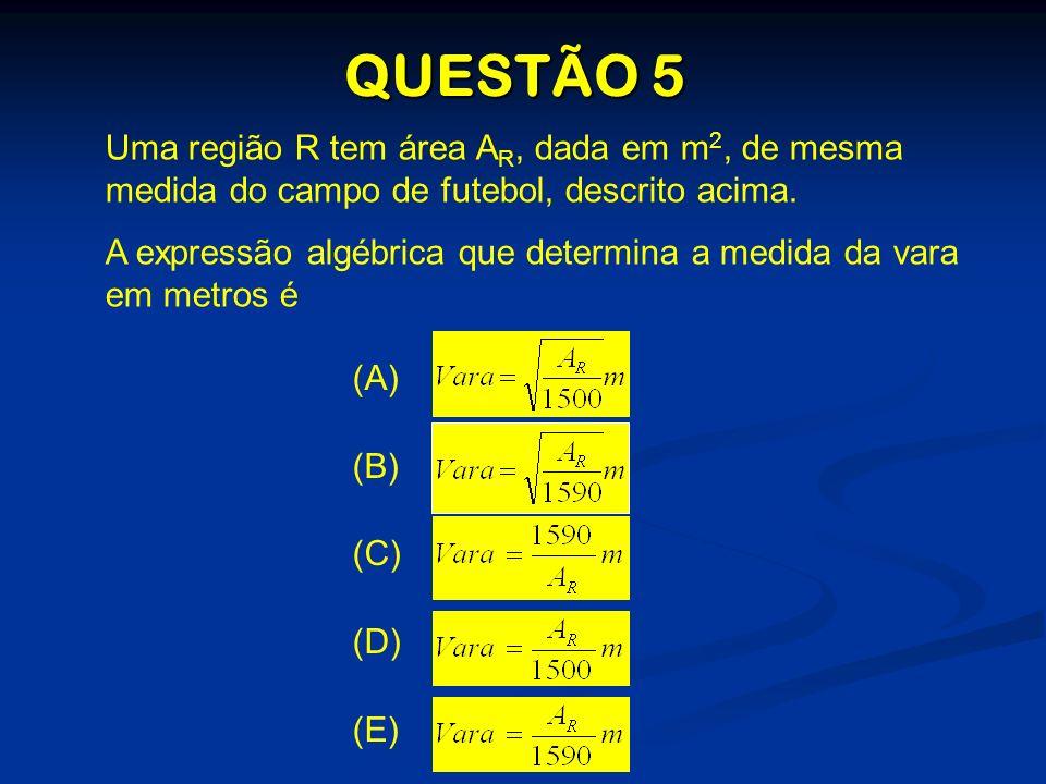 QUESTÃO 5 Uma região R tem área AR, dada em m2, de mesma medida do campo de futebol, descrito acima.
