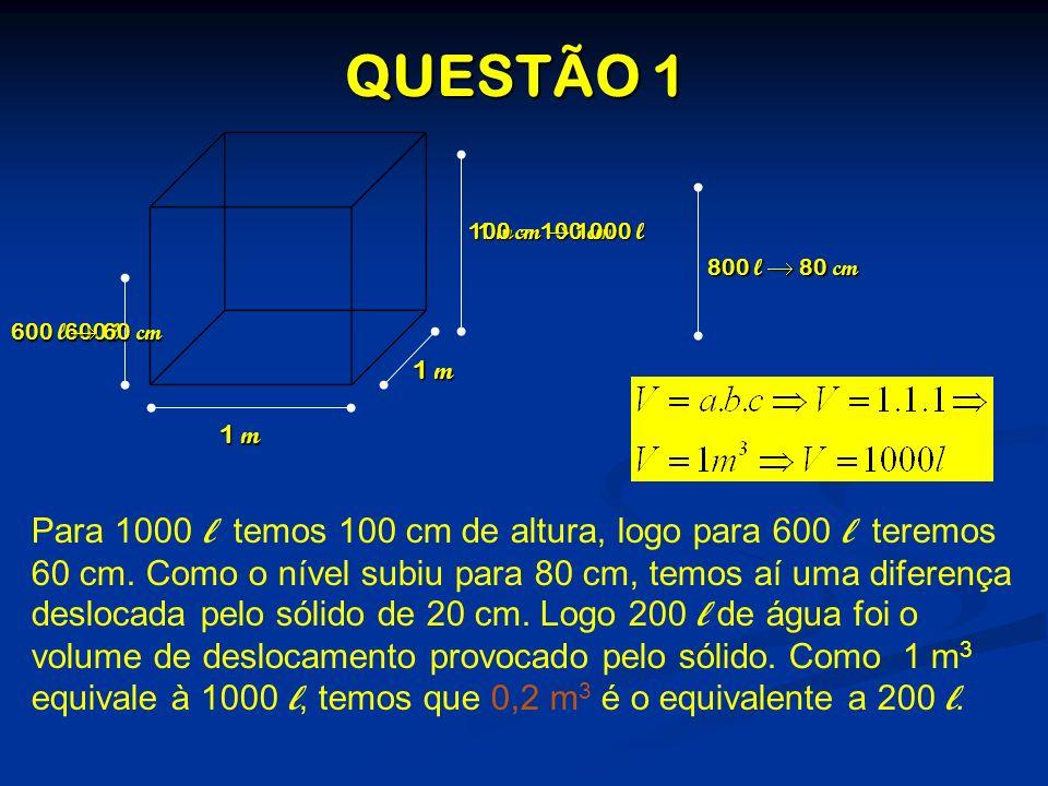 QUESTÃO 1 100 cm  1000 l. 1 m = 100 cm. 800 l  80 cm. 600 l  60 cm. 600 l. 1 m. 1 m.