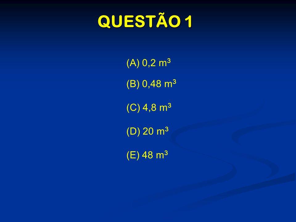 QUESTÃO 1 (A) 0,2 m3 (B) 0,48 m3 (C) 4,8 m3 (D) 20 m3 (E) 48 m3