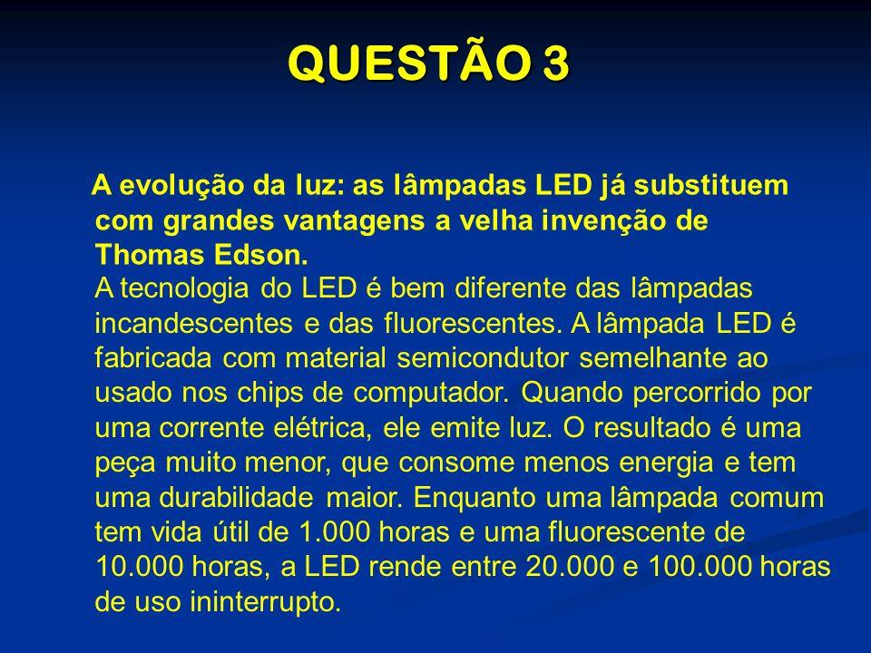 QUESTÃO 3 A evolução da luz: as lâmpadas LED já substituem com grandes vantagens a velha invenção de Thomas Edson.