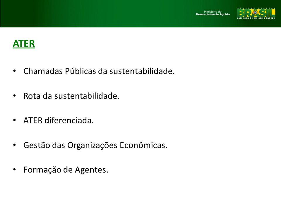 ATER Chamadas Públicas da sustentabilidade. Rota da sustentabilidade.
