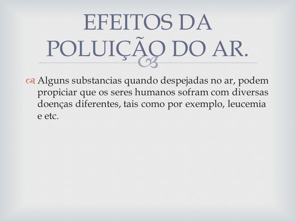 EFEITOS DA POLUIÇÃO DO AR.