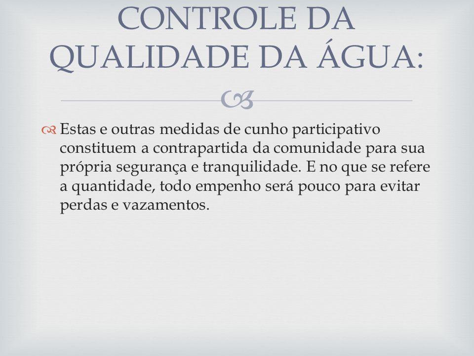 CONTROLE DA QUALIDADE DA ÁGUA: