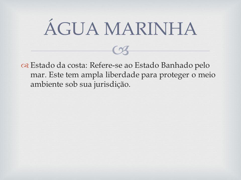 ÁGUA MARINHA Estado da costa: Refere-se ao Estado Banhado pelo mar.
