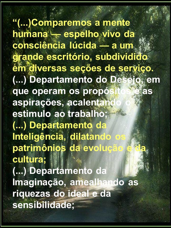 (...)Comparemos a mente humana — espelho vivo da consciência lúcida — a um grande escritório, subdividido em diversas seções de serviço.