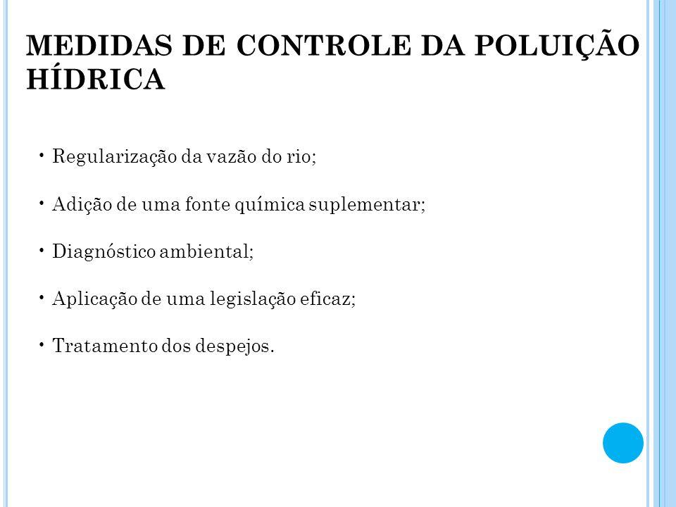 MEDIDAS DE CONTROLE DA POLUIÇÃO HÍDRICA