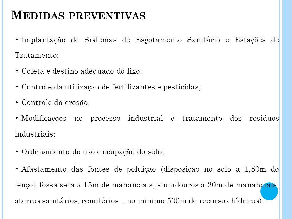 Medidas preventivas Implantação de Sistemas de Esgotamento Sanitário e Estações de Tratamento; Coleta e destino adequado do lixo;